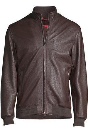 ISAIA Men's Leather Bomber Jacket - - Size 38
