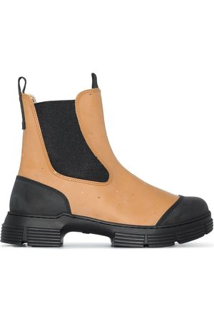 Ganni Women Chelsea Boots - Two-tone chunky Chelsea boots