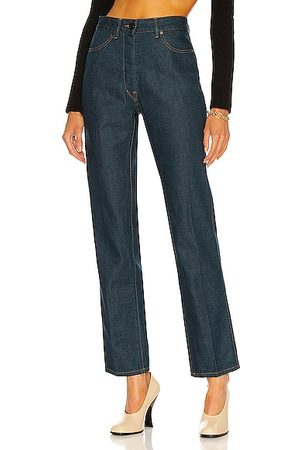 LEMAIRE Women Pants - Denim Fitted Pant in Navy