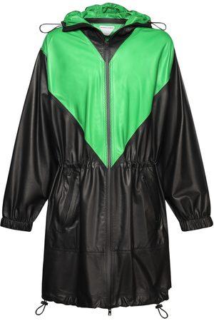 Bottega Veneta Men Leather Jackets - Hooded Waterproof Matt Leather Parka