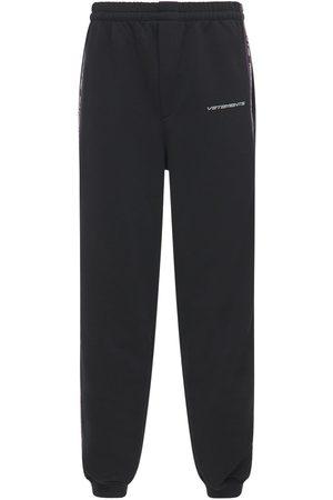 Vetements Men Sweatpants - Logo Tape Cotton Blend Sweatpants