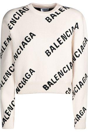 Balenciaga Women Sweatshirts - Logo Cotton Blend Knit Crewneck Sweater