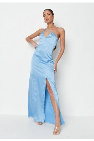 Missguided Women Asymmetrical Dresses - Satin Asymmetric Strap Maxi Dress
