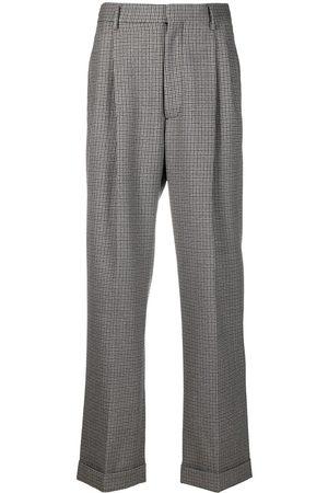 Marni Men Straight Leg Pants - Checked straight-leg wool trousers - Grey
