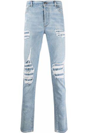 Balmain Men Straight - Distressed straight-leg jeans