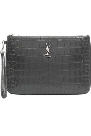 Saint Laurent Women Clutches - Monogram crocodile-effect clutch bag - Grey