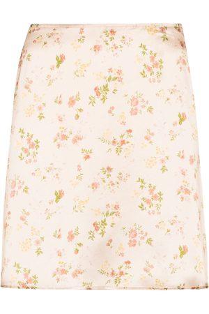 Reformation Women Printed Skirts - Benson floral-print miniskirt - Neutrals