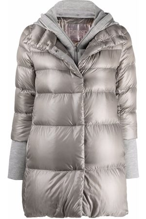 HERNO Women Puffer Jackets - Embellished hooded puffer jacket - Grey