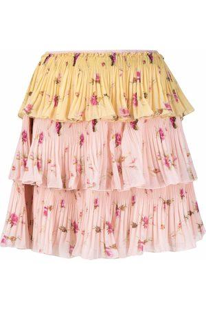 RED Valentino Women Printed Skirts - Flounced floral-print mini skirt