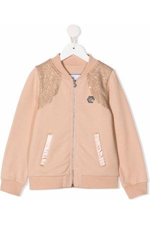 Philipp Plein Girls Bomber Jackets - Iconic Plein rhinestone-embellished bomber jacket - Neutrals