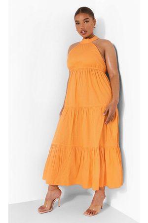 Boohoo Womens Plus Woven Tie Back Tiered Midaxi Dress - - 16
