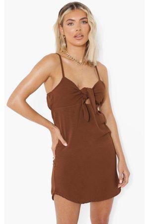 Boohoo Womens Tie Front Swing Mini Dress - - 4