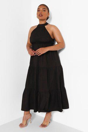 Boohoo Womens Plus Woven Tie Back Tiered Midaxi Dress - - 12