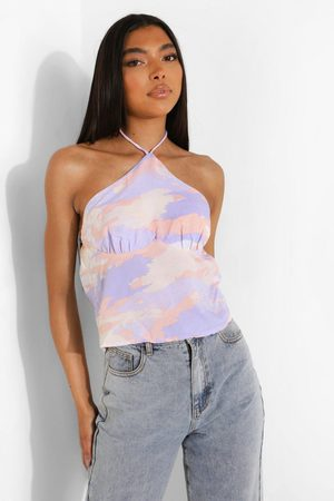 Boohoo Womens Tall Tie Dye Halter Ruched Cami - - 2