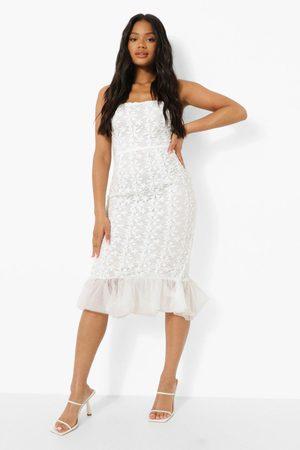Boohoo Womens Bandeau Lace Ruffle Hem Midi Dress - - 4