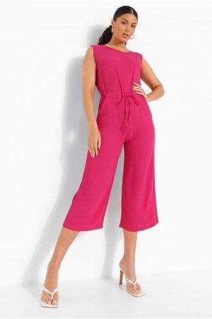 Boohoo Womens Slouchy Drawstring Waist Culotte Jumpsuit - - 4