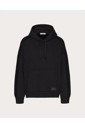 VALENTINO Men Sweatshirts - Vltn Tag Hooded Wool Sweatshirt Man Virgin Wool 100% L