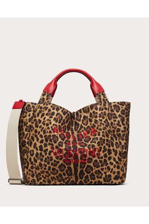 VALENTINO GARAVANI Women Tote Bags - Large Animalier Atelier Tote Bag In Canvas Women Animal Print Cotton 50%, Linen 50% OneSize