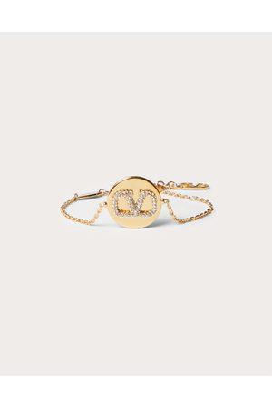 VALENTINO GARAVANI Women Bracelets - Vlogo Signature Bracelet In Metal And Swarovski® Crystals Women Brass 100% OneSize