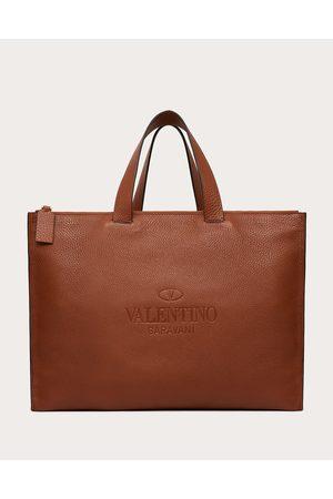 VALENTINO GARAVANI Valentino Garavani Identity Leather Tote Bag Man Saddle 100% Pelle Di Vitello - Bos Taurus OneSize