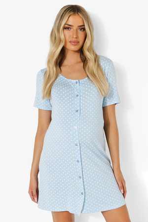 Boohoo Womens Maternity Polka Dot Button Front Nightgown - - 4
