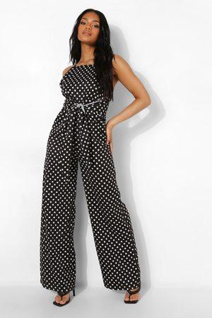 Boohoo Womens Petite Spot Print Tie Waist Jumpsuit - - 2