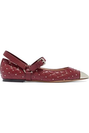 VALENTINO GARAVANI Women Flat Shoes - Woman Rockstud Spike Quilted Leather Point-toe Flats Claret Size 36