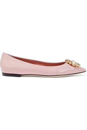 Dolce & Gabbana Woman Crystal-embellished Patent-leather Point-toe Flats Baby Size 37