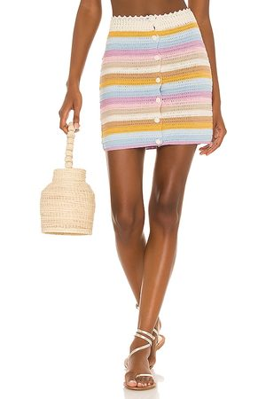 Lovers + Friends Lisette Crochet Mini Skirt in Neutral,Baby Blue.