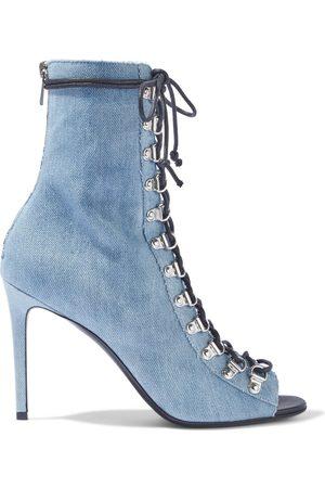 Balmain Woman Lace-up Denim Ankle Boots Light Denim Size 36