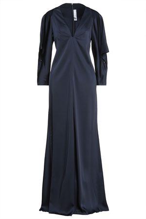 Victoria Beckham Woman Draped Satin Gown Midnight Size 10