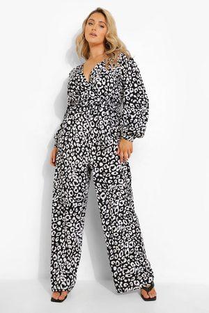 Boohoo Womens Plus Woven Animal Print Wrap Jumpsuit - - 12