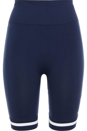 The Upside Woman Jacquard-trimmed Stretch Shorts Navy Size XS/S