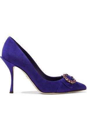 Dolce & Gabbana Woman Lori Crystal-embellished Suede Pumps Size 35.5