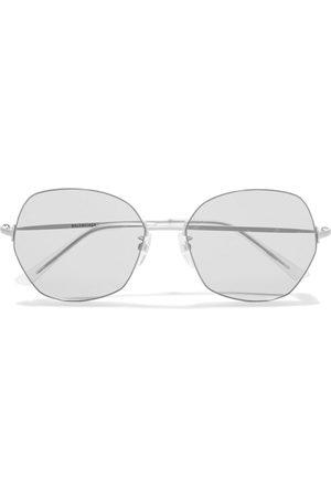 Balenciaga Woman Round-frame Coated Silver-tone Sunglasses Size