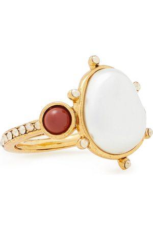 Oscar de la Renta Woman -tone Faux Pearl Crystal And Stone Ring Size ONESIZE