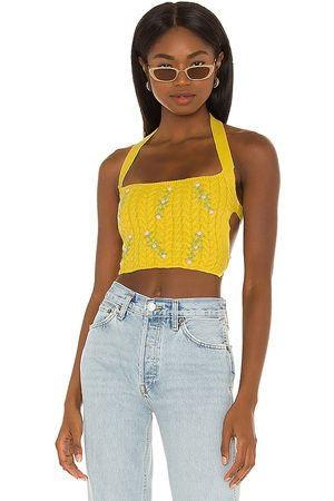 DANIELLE GUIZIO Cable Knit Floral Embroidered Halter Top in Yellow.