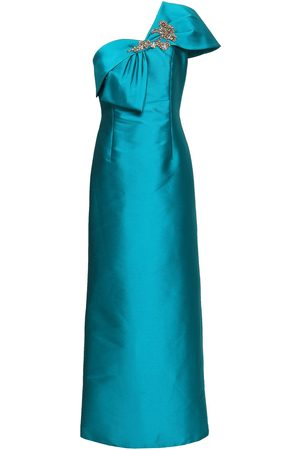 Sachin & Babi Woman Ines One-shoulder Embellished Faille Gown Teal Size 10