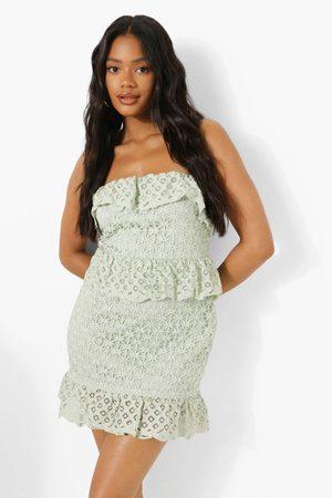 Boohoo Womens Bandeau Ruffle Detail Lace Mini Dress - - 2