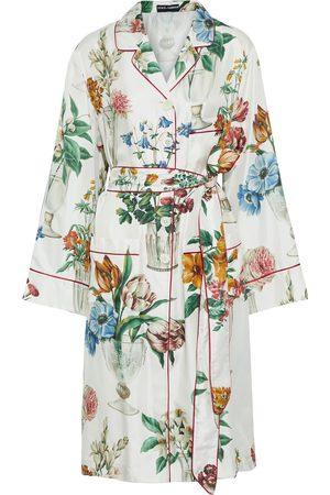 Dolce & Gabbana Woman Belted Floral-print Silk-twill Kimono Off- Size 36
