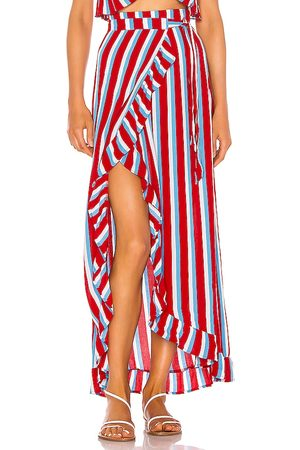 Lovers + Friends Waves For Days Wrap Skirt in Red.
