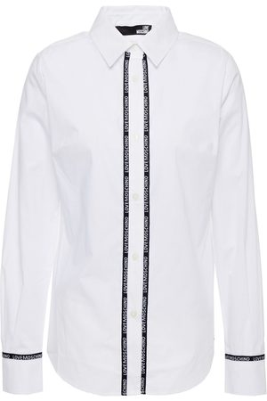 Love Moschino Woman Monogram-trimmed Stretch-cotton Poplin Shirt Size 38