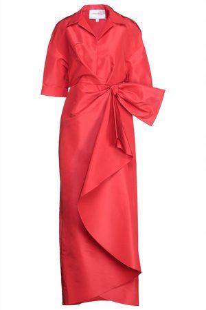 Carolina Herrera Woman Bow-embellished Draped Silk-faille Gown Size 2