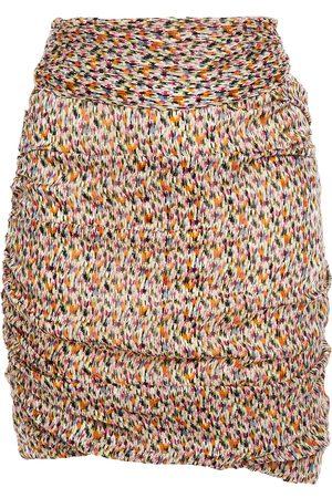 Bash Woman Dina Ruched Printed Metallic Georgette Mini Skirt Size 0