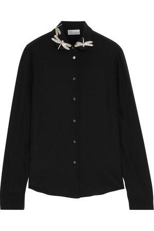 RED Valentino Woman Appliquéd Silk Crepe De Chine Shirt Size 40