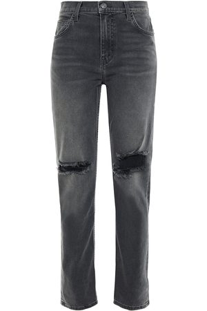 Current/Elliott Woman The Stovepipe Distressed High-rise Slim-leg Jeans Dark Size 26