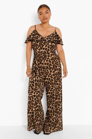 Boohoo Womens Plus Woven Frill Cold Shoulder Jumpsuit - - 12