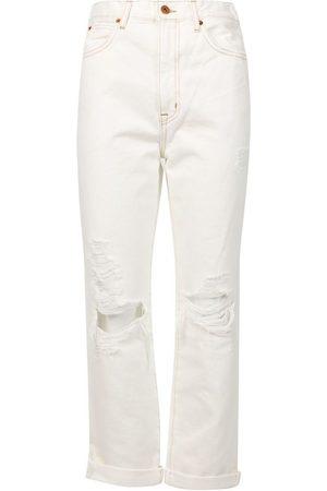 SLVRLAKE Dakota Distressed High-waisted Jeans Ivory