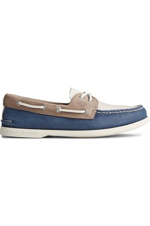 Sperry Top-Sider Men Shoes - Men's Sperry Authentic Original PLUSHWAVE Tri-Tone Boat Shoe NavyMulti, Size 6M