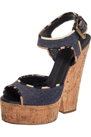 Giuseppe Zanotti Dark Wash Denim Cork Heel Platform Ankle Strap Sandals Size 39